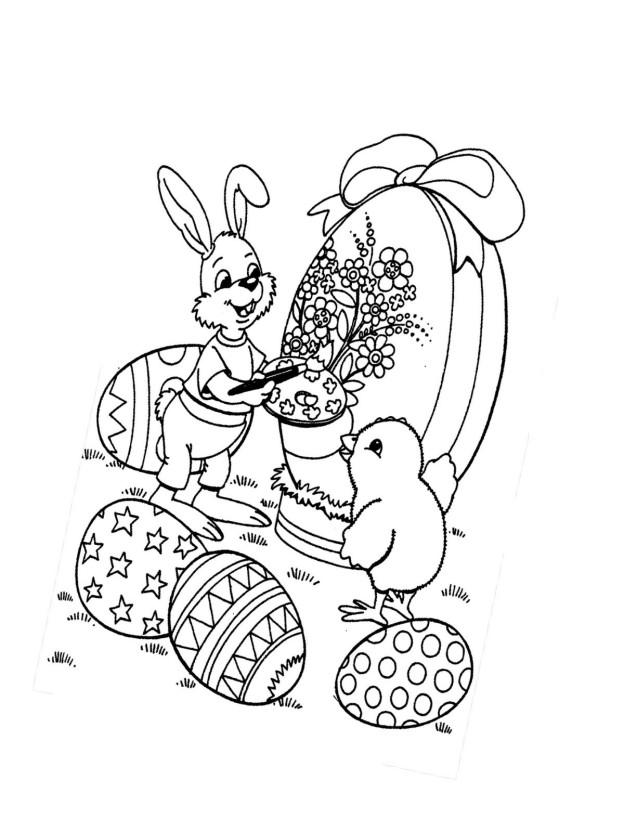 ausmalbild zu ostern küken und eier 11 | märchen aus aller