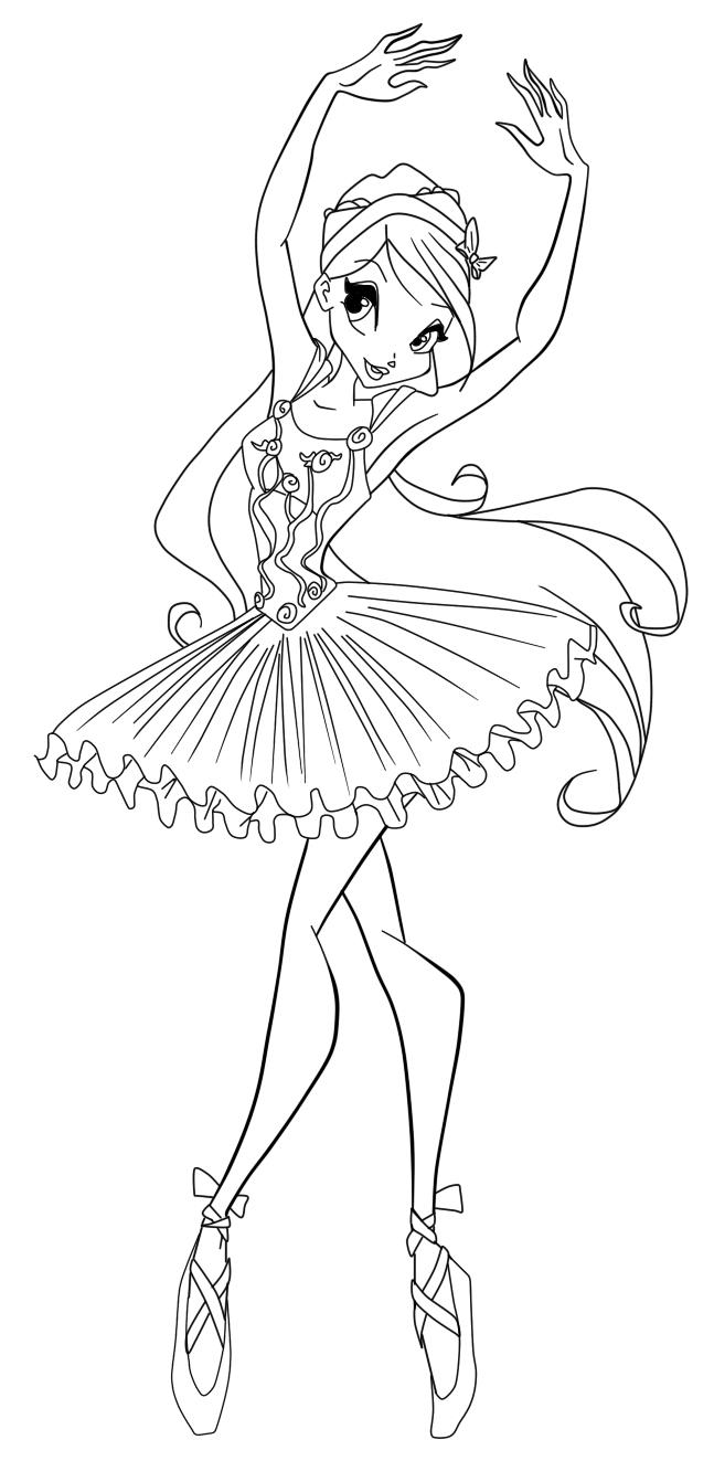 Kostenlose Malvorlage Ballerina  Coloring and Malvorlagan