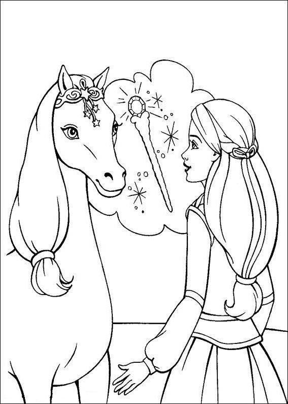 Ausmalbilder, Malvorlagen von Barbie und der geheimnisvolle Pegasus ...