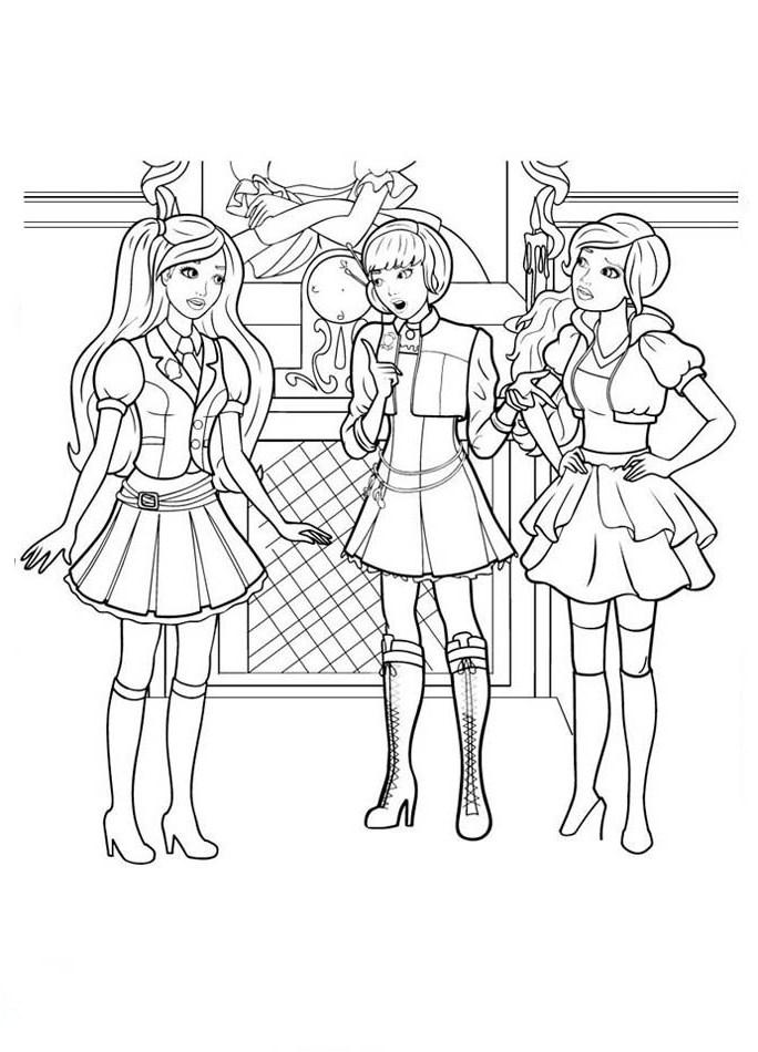 Ausmalbilder, Malvorlagen von Barbie und die Prinzessinnen Akademie ...