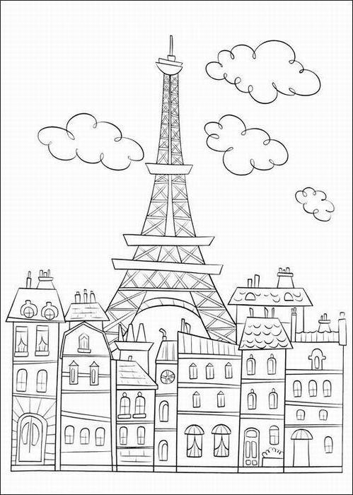 ausmalbilder malvorlagen von eiffelturm in paris