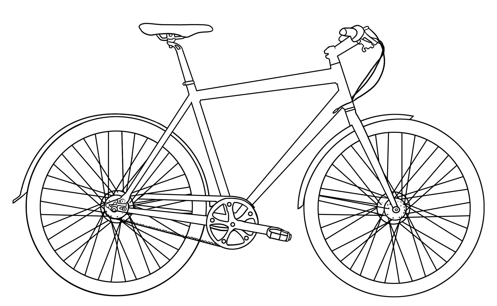 Ausmalbilder Malvorlagen  Fahrrad kostenlos zum Ausdrucken