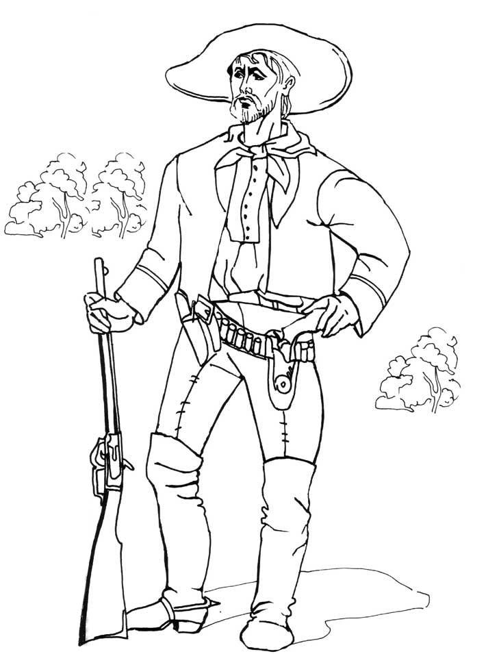 ausmalbilder, malvorlagen - cowboy kostenlos zum