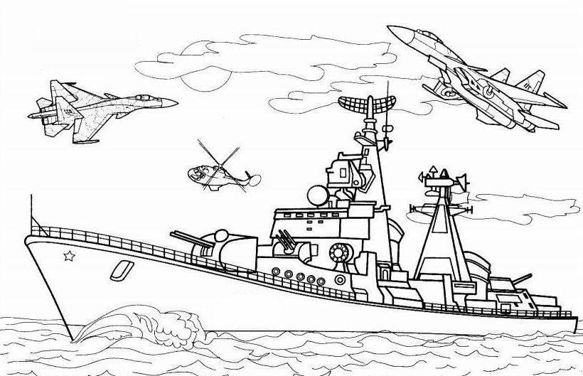 ausmalbilder, malvorlagen - kriegsschiffe kostenlos zum