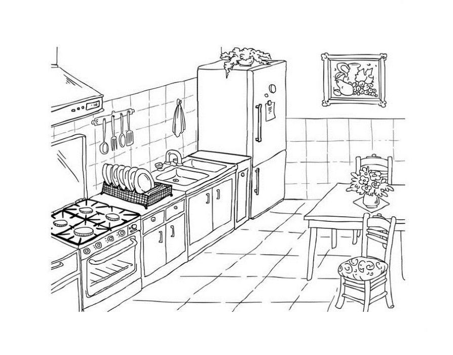 ausmalbilder malvorlagen  küche kostenlos zum ausdrucken