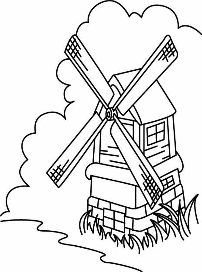 Ausmalbilder, Malvorlagen – Mühle kostenlos zum Ausdrucken ...