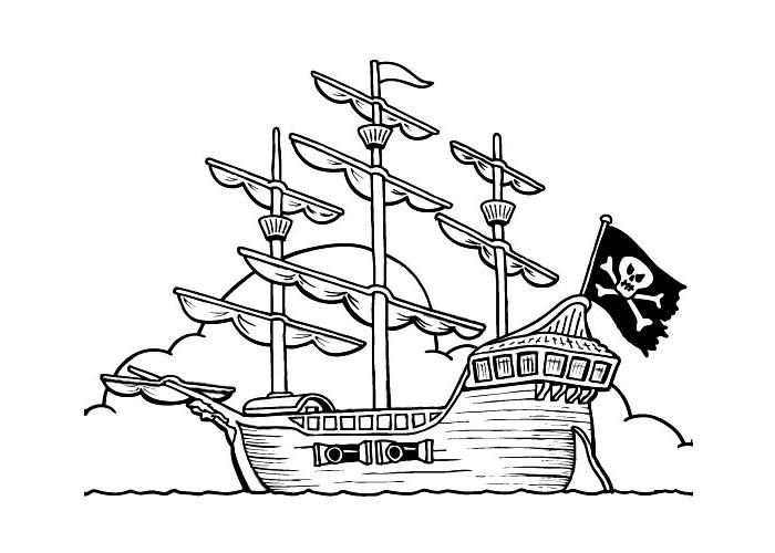 ausmalbilder, malvorlagen - piratenschiff kostenlos zum