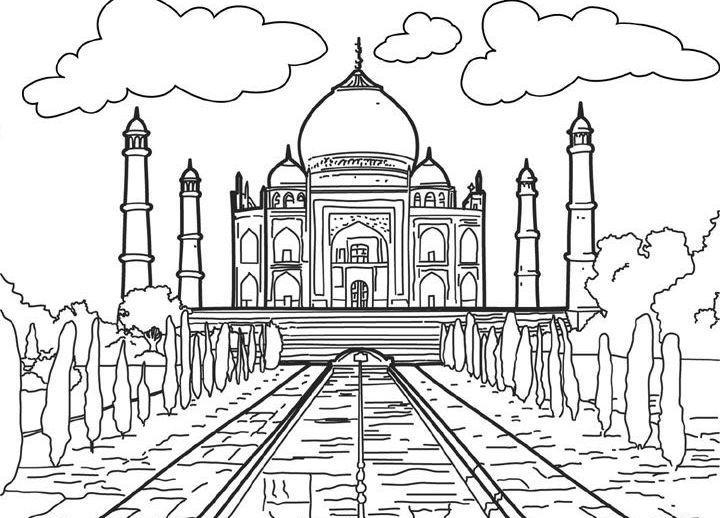 Ausmalbilder, Malvorlagen von Tadsch Mahal in Indien kostenlos zum ...