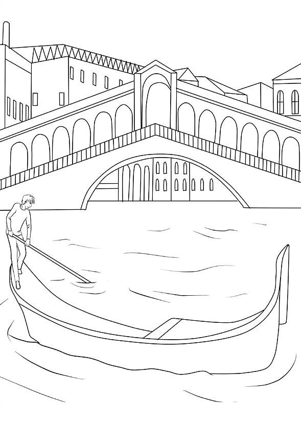 Ausmalbilder Malvorlagen Von Venedig In Italien Kostenlos Zum
