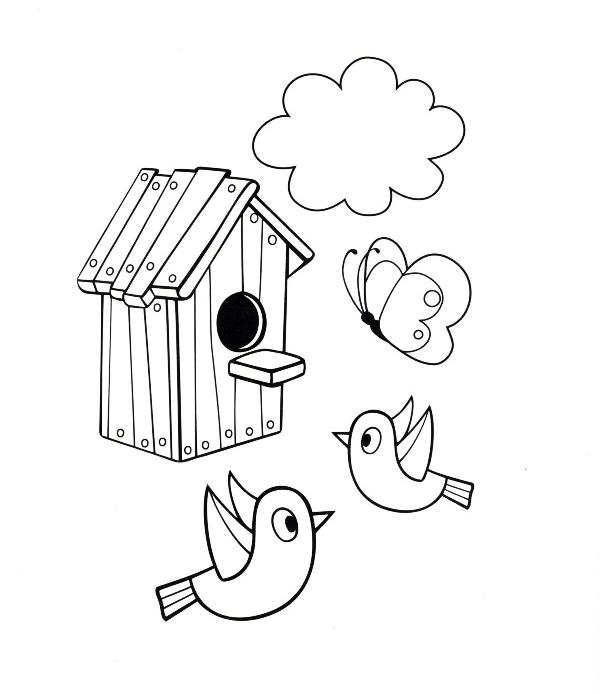 Das Ausmalbild Bringt Kinder Zur Aufmerksamkeit Bei Hier Können Sie Ausmalbilder Vogelhaus Kostenlos Ausdrucken Malvorlagen Für