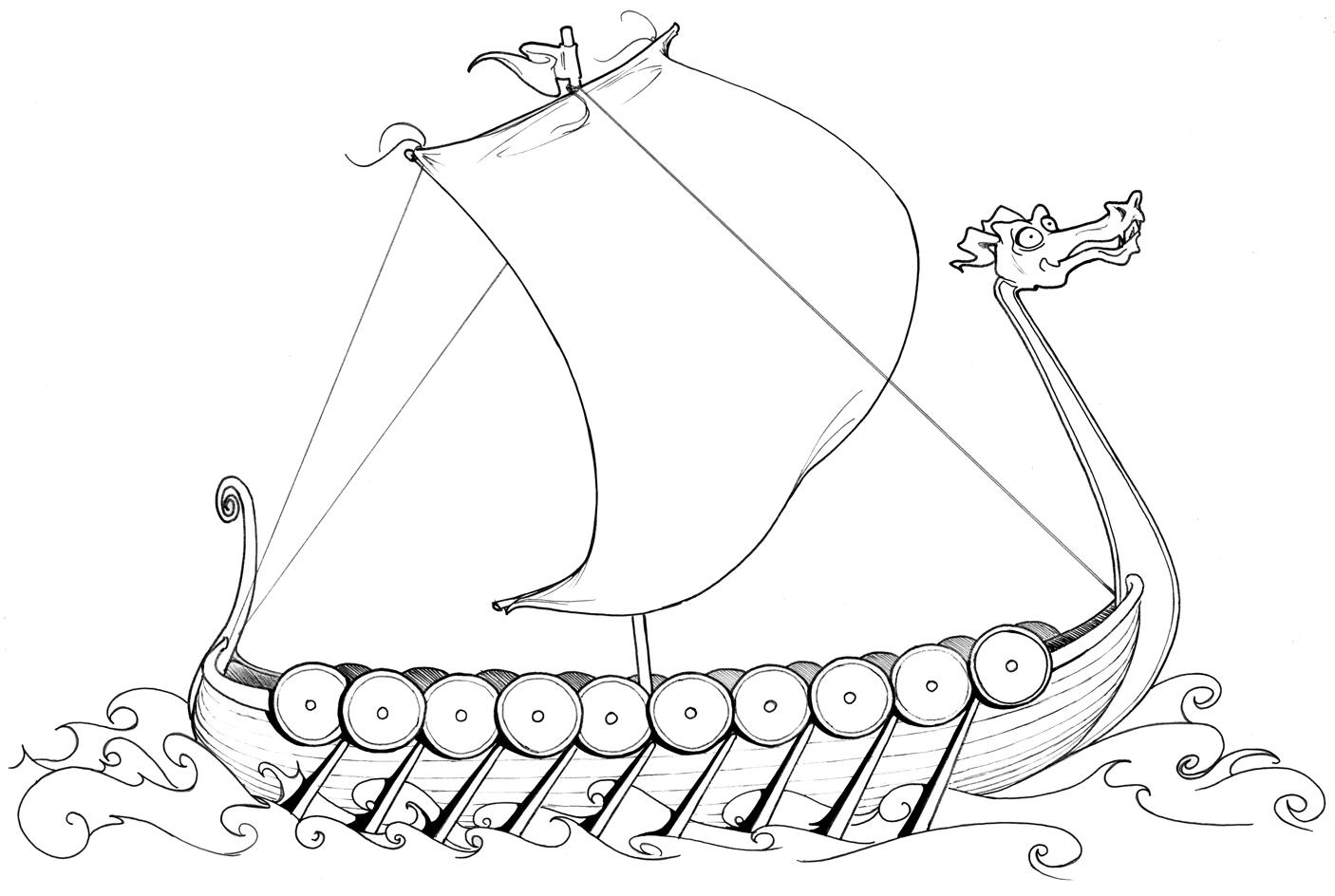 ausmalbilder malvorlagen  wikingerschiff kostenlos zum