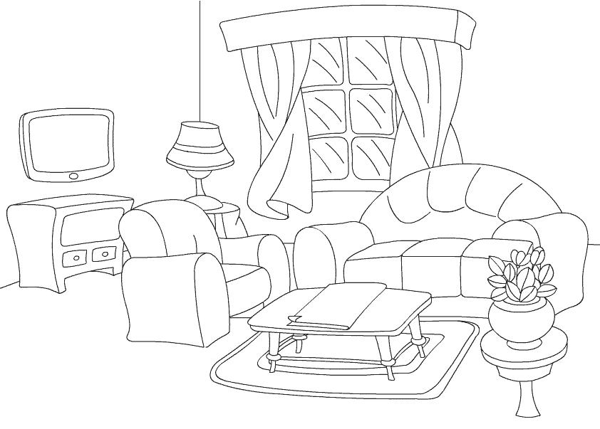 ausmalbilder malvorlagen � wohnzimmer kostenlos zum